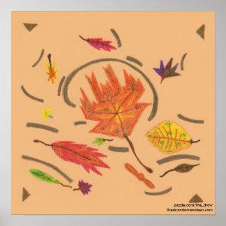 Essência do poster de roda das folhas do outono