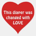 Esta fralda foi mudada com AMOR Adesivo Em Forma De Coração