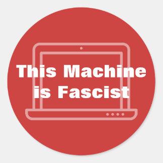 Esta máquina é fascista adesivo redondo