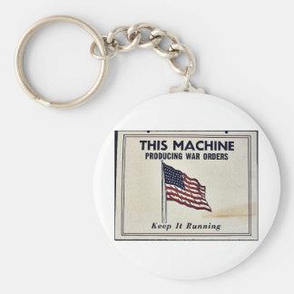 Esta máquina produzindo ordens da guerra chaveiros