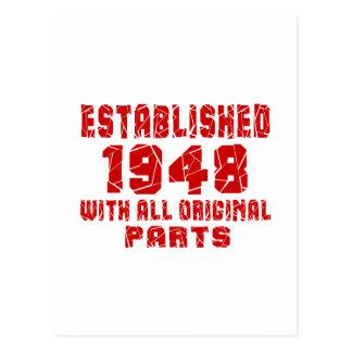 Estabelecido 1948 com todas as peças originais cartão postal