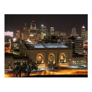 Estação da união de Kansas City no cartão da noite