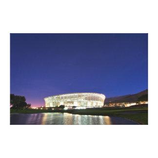 Estádio de Cape Town iluminado na noite Impressão De Canvas Envolvida