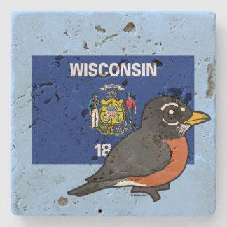 Estado Birdorable de Wisconsin: Pisco de peito Porta-copos De Pedra