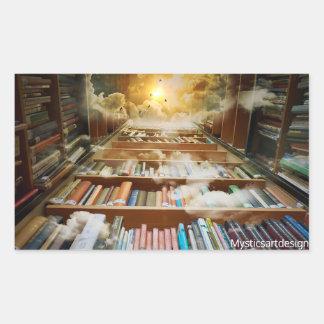 Estante Mystical e livros que escalam aos céus Adesivo Retangular
