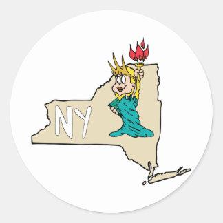 Estátua da liberdade do mapa dos desenhos animados adesivos em formato redondos