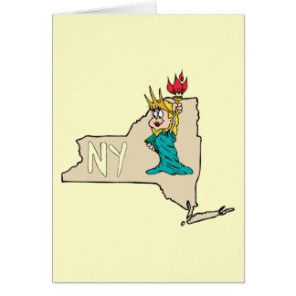 Estátua da liberdade do mapa dos desenhos animados cartão comemorativo