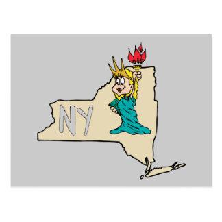Estátua da liberdade do mapa dos desenhos animados cartao postal