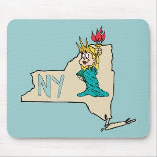 Estátua da liberdade do mapa dos desenhos animados mouse pad