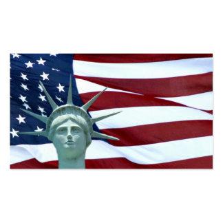 Estátua da liberdade e bandeira americana modelo cartoes de visita