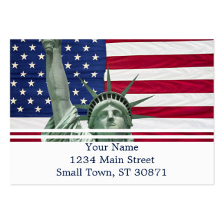 Estátua da liberdade e bandeira americana cartão de visita grande