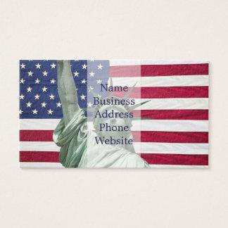 Estátua da liberdade e bandeira americana cartão de visitas