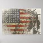 Estátua da liberdade na bandeira americana do vint pôsteres