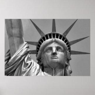Estátua da liberdade preta & branca New York Pôster