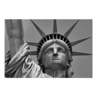 Estátua da liberdade preta & branca New York Poster