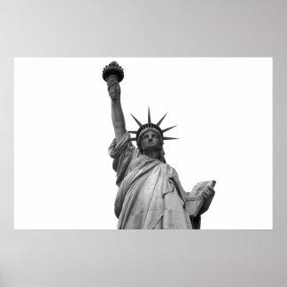 Estátua da liberdade preta & branca pôster