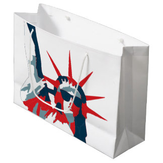 Estátua da liberdade que veste óculos de sol sacola para presentes grande