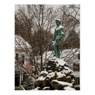 Estátua do capitão Parker no Lexington Battlegreen Cartão Postal