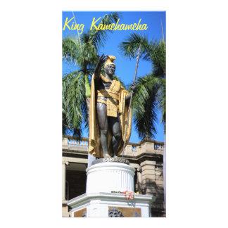 estátua do kamehameha do rei cartão com foto