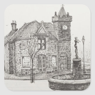 Estátua Kirriemuir Scotland 2007 de Peter Pan Adesivo Quadrado