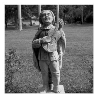 Estátua preto e branco do músico da foto pôster