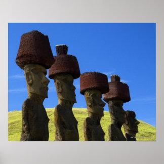 Estátuas culturais, Ilha de Páscoa, Polinésia Poster