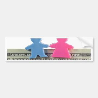 Estatueta do casal na nota do dólar americano adesivo para carro