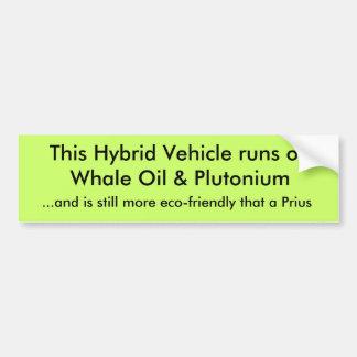 Este veículo híbrido funciona no óleo de baleia &  adesivo para carro