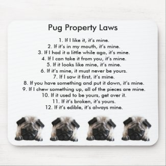 Esteira do rato das leis da propriedade do Pug Mousepads