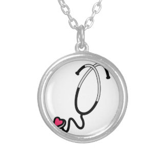 Estetoscópio do coração colar banhado a prata