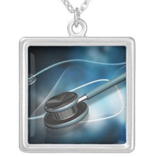 Estetoscópios médicos da enfermeira colar com pendente quadrado