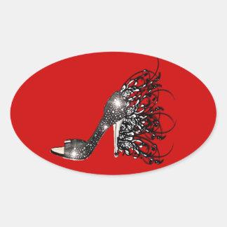 Estilete preto Sparkling no vermelho Adesivo Oval