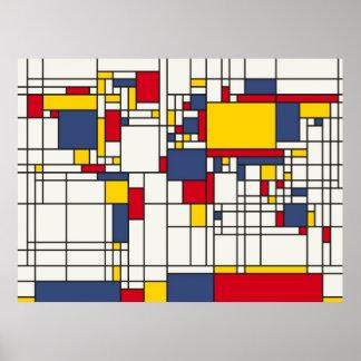 Estilo abstrato de Mondrian do mapa do mundo Pôster