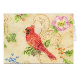 Estilo cardinal do vintage do cartão do Natal