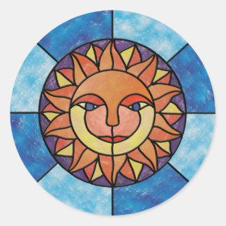 Estilo celestial do vitral do vintage de Sun Adesivos Em Formato Redondos