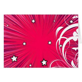 Estilo cor-de-rosa da banda desenhada estourado cartão comemorativo