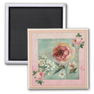 Estilo cor-de-rosa do vintage de Fleurs dos Belles Imã