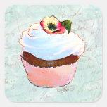 Estilo cor-de-rosa francês do Victorian do cupcake Adesivo Quadrado
