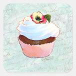 Estilo cor-de-rosa francês do Victorian do cupcake Adesivo Em Forma Quadrada