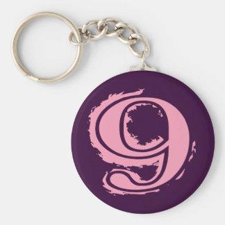 Estilo cor-de-rosa número 9 do Grunge Chaveiro
