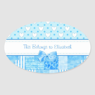 Estilo country azul feminino com nome adesivos em formato oval