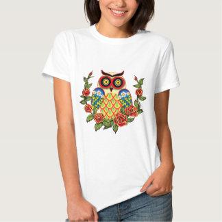 Estilo da coruja e do mexicano dos rosas camisetas