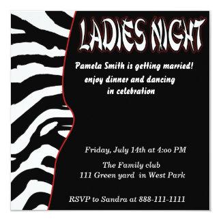 estilo da festa de solteira da zebra convite quadrado 13.35 x 13.35cm