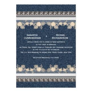 Estilo da sarja de Nimes de jeans Convites Personalizados