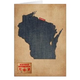 Estilo de jeans da sarja de Nimes do mapa de Cartoes