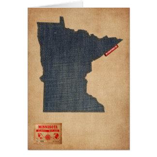 Estilo de jeans da sarja de Nimes do mapa de Cartão