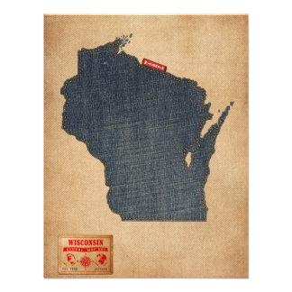 Estilo de jeans da sarja de Nimes do mapa de Convites