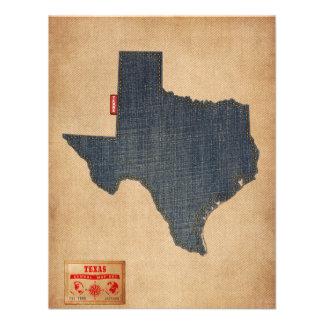 Estilo de jeans da sarja de Nimes do mapa de Texas Convites Personalizado