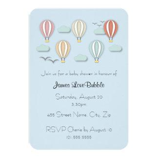 Estilo de Papercut dos balões de ar quente do chá Convite 8.89 X 12.7cm