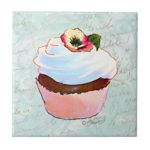 Estilo do francês do cupcake do chocolate azulejo quadrado pequeno